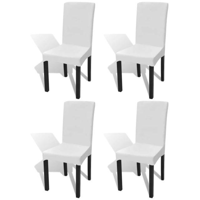 Housse Extensible Pcs De 4 Blanc Droite Chaise HWID9E2