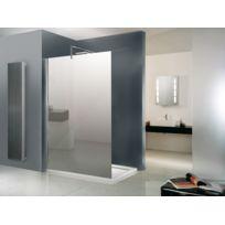 SCHULTE - Paroi de douche fixe, 120 x 200 cm, paroi de douche à l'italienne, verre miroir, profilé chromé, Walk In Free