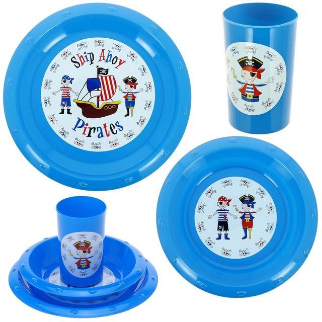 Promobo Set Repas Enfant Imprimé Pirate 3 Pièces Gobelet Assiette Et Bol