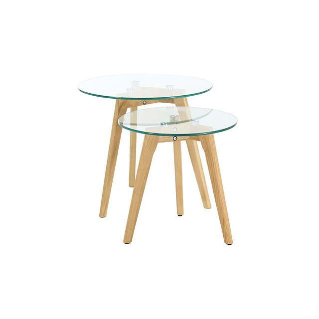 Lot de 2 tables gigognes en bois et verre