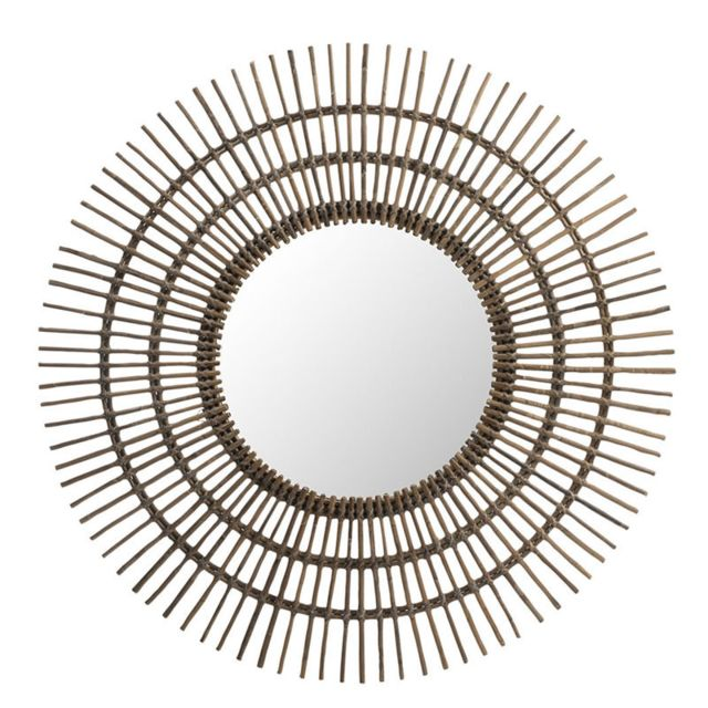 Tousmesmeubles Miroir soleil rond Rotin marron - Mezen