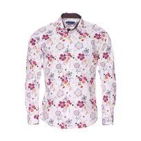 Meadrine - Chemise cintrée Méadrine en coton blanc à fleurs et rayures ocre