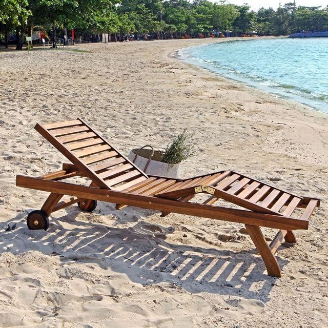 bois dessus bois dessous bain de soleil en bois de teck pas cher achat vente transats. Black Bedroom Furniture Sets. Home Design Ideas