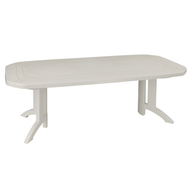 Table de Jardin Vega avec Allonge Blanc 220 x 100 cm