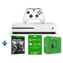 MICROSOFT - Pack Xbox One S 500GO nue + Gears of War 4 + abo 3 mois + casque filaire