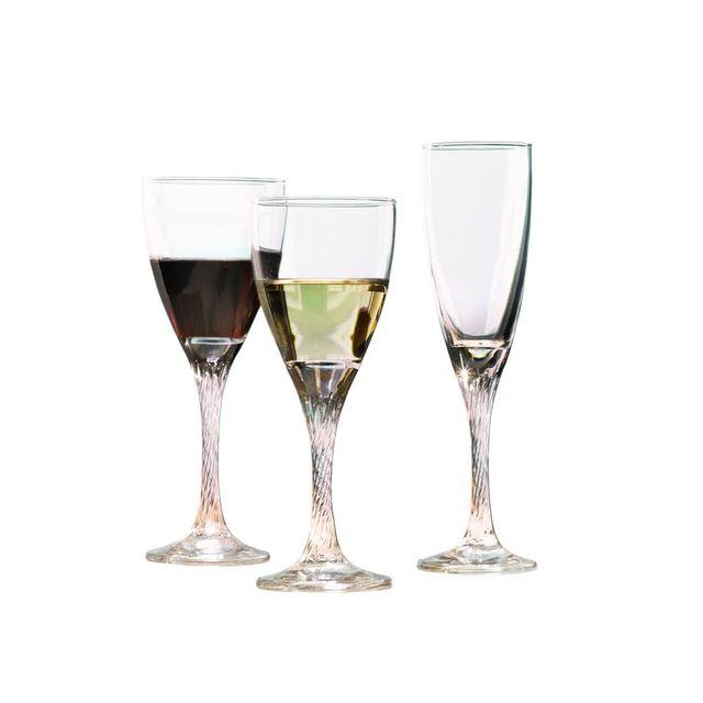 Novastyl Service de verres 18 pièces avec pied en forme originale twist Amboise