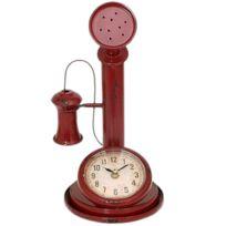 Out Of The Blue - Pendule métal en forme de vieux téléphone - Rouge