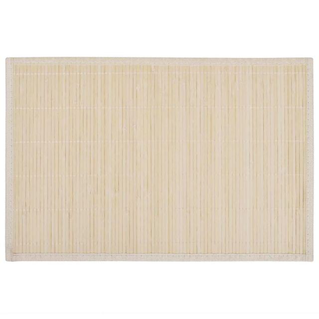 Icaverne - Sets de table ensemble 6 Napperons en bambou 30 x 45 cm Nature
