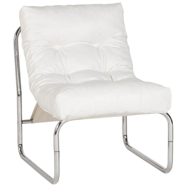 Kasalinea Fauteuil de relaxation blanc design Pu et chrome Andreas3