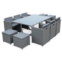 ALICE'S GARDEN - Salon de jardin Vasto Gris table en résine tressée 6 à 10 places, fauteuils encastrables
