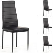 idimex lot de 4 chaises de salle manger nathalie pitement mtallique laqu noir revtement