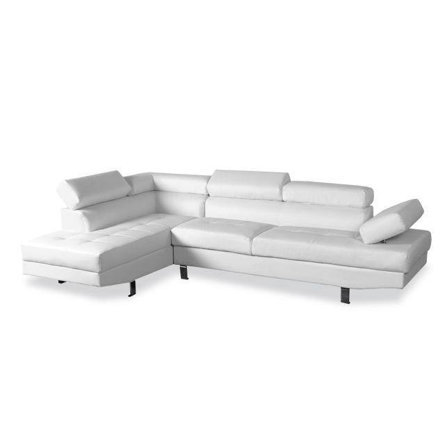 Canapé d'angle gauche avec têtières relevables Charly Blanc