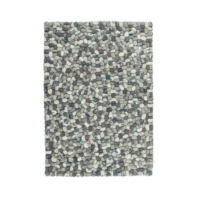 deladeco tapis en laine feutr e rectangulaire fait main gris sences pas cher achat vente. Black Bedroom Furniture Sets. Home Design Ideas