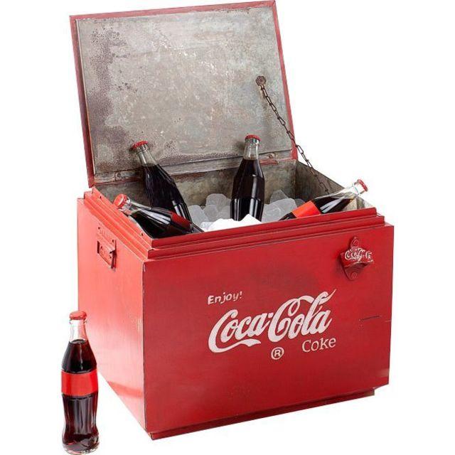 Comforium Table basse design rétro Coca Cola rouge avec espace de rangement