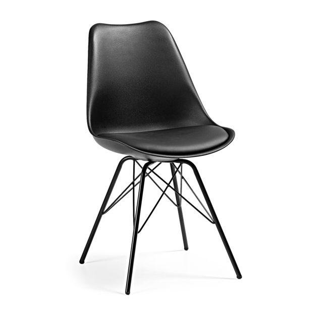 Kavehome Chaise Ralf avec pieds en acier, noir