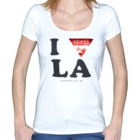 Guess - T Shirt Manches Courtes - Femme - W44i10 Triangle Glossy - Blanc
