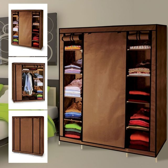 idmarket armoire de rangement chocolat dressing penderie xxl tissu marron pas cher achat. Black Bedroom Furniture Sets. Home Design Ideas