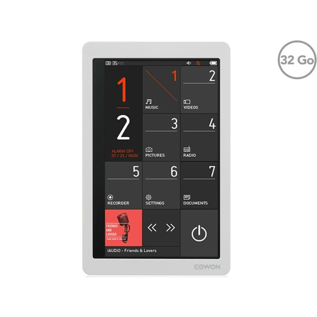 COWON X9 - Lecteur MP3/MP4 - 32Go - Écran LCD tactile 3,7'' - Jusqu'à 110h de musique et 13h de vidéo - Blanc