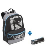 Airness - BADGER - Sac à dos - Noir et bleu - 400077905 + BADGER - Trousse ronde - L 22 cm - 400081714