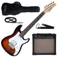 Rocktile - Sphere Junior Guitare Eléctrique 3/4 Sunburst Set avec ampli, cable et sangle