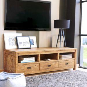 bois dessus bois dessous meuble tv en bois de teck recycl 3 tiroirs pas cher achat vente. Black Bedroom Furniture Sets. Home Design Ideas