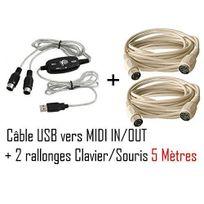 Cabling - Cable Adaptateur Interface - Convertisseur Usb / Midi In - Midi Out Mac / Pc + deux rallonges clavier Ps2 5 mètres
