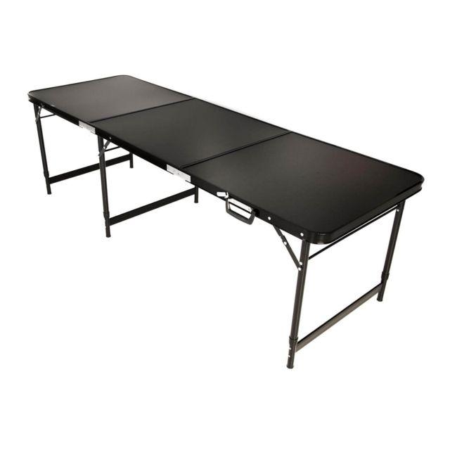 empasa table multifonction pliante avec poign e alu 180 x 60 cm noir pas cher achat. Black Bedroom Furniture Sets. Home Design Ideas