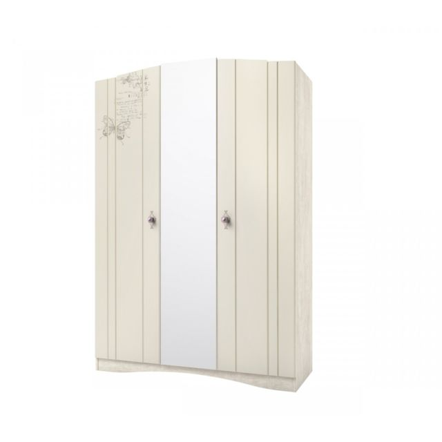 TERRE DE NUIT Armoire 3 portes imitation chêne ivoire AR4004