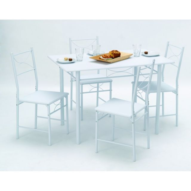 Rocambolesk Set Table Rectangulaire 110X70 + 4 Chaises Whitney