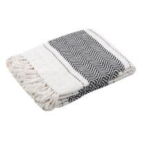 Stof - Plaid 100% coton frise tissage chevron noir/blanc franges 125x150cm Valdavianc