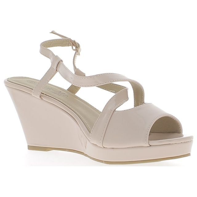 e0eb9fd1c14643 Chaussmoi - Sandales compensées grande taille nude beiges à talon de 8,5 cm  aspect