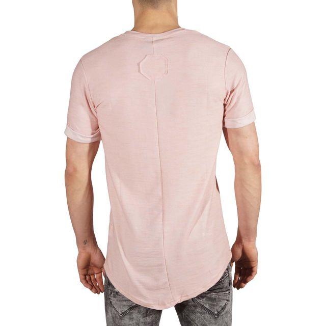 Tee Shirt semi oversize manches retroussés Homme Paris 88171153, Taille: S, Couleur: Rose pale