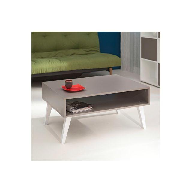 Table basse cubique pieds inclinés coloris taupe et blanc