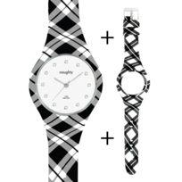 Naughty Watch Montres Femme - Pack Montre Femme Naughty Silicone ornée de Cristaux Swarovski® Montre + 2 bracelets Vichy
