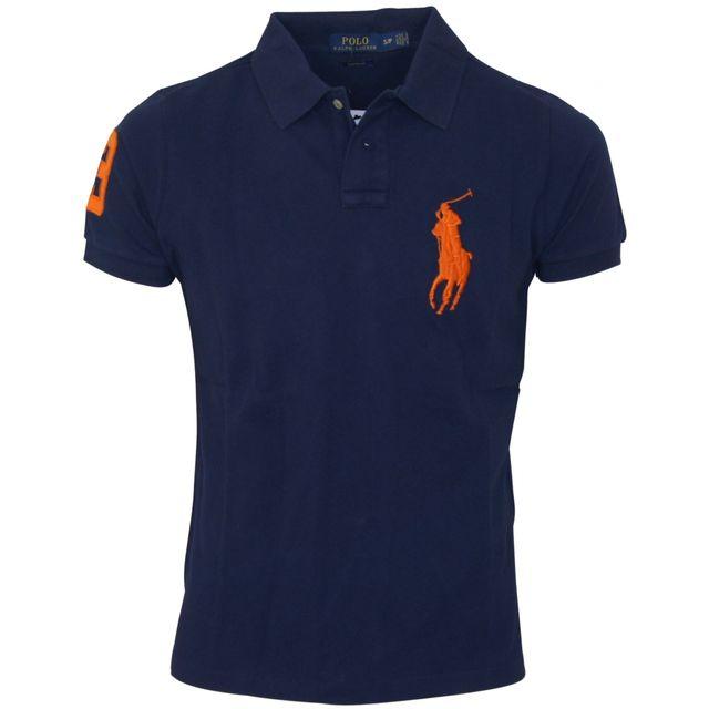 Ralph Lauren - polo custom fit bleu marine big pony - pas cher Achat    Vente Polo homme - RueDuCommerce 2dbab73e1796