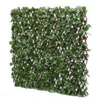 JARDIN ARTIFICIEL - Treillis extensible en bois de saule feuillage artificiel lierre foncé