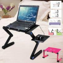 Support Lit avec Ventilateur pour Ordinateur Portable Pc Mac Table Reglable Pliable Canape NOIR