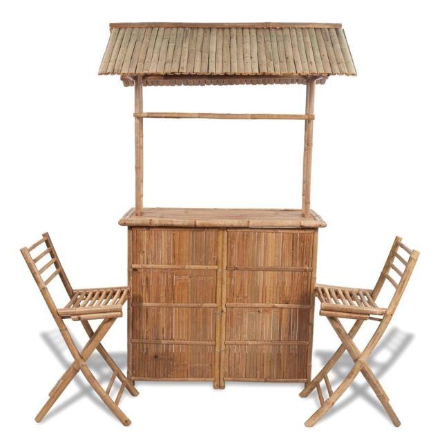 VIDAXL Comptoir de bar 3 pcs Bambou | Brun