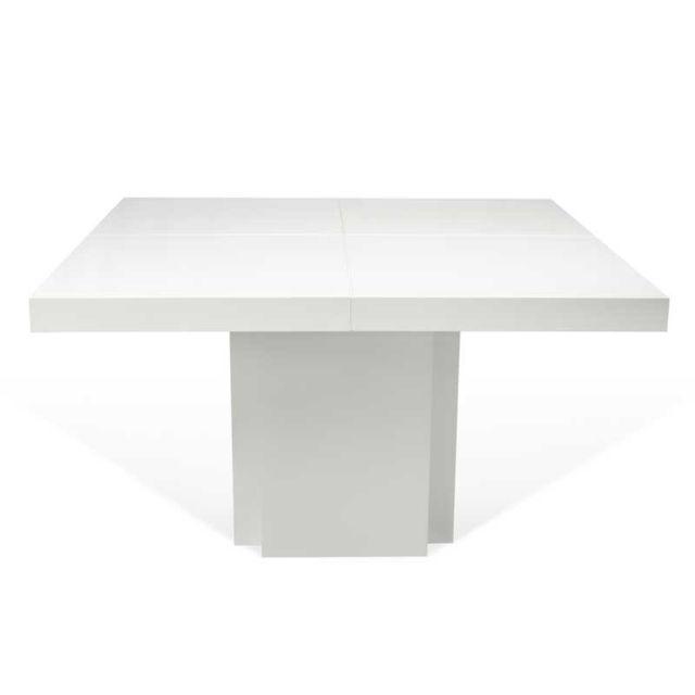Tousmesmeubles Table de repas carrée Blanc brillant - Bellesa