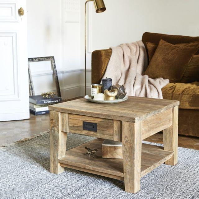 bois dessus bois dessous table basse carr e en bois de teck recycl 60 60cm x 60cm x 42cm n. Black Bedroom Furniture Sets. Home Design Ideas