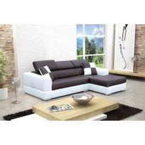 CHLOE DESIGN - Canapé design d'angle madrid iv en cuir pu - Angle droit - noir et blanc