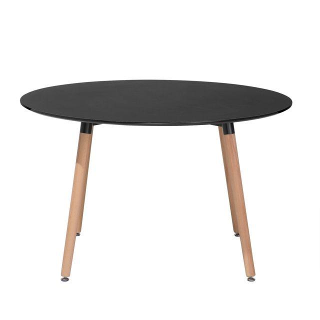 BELIANI - Table de salle à manger - table de cuisine - noir - 120 cm ...