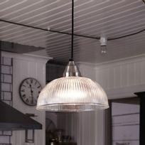 Mark Slojd - Suspension dôme en métal chromé et verre strié diamètre 30cm Asnen
