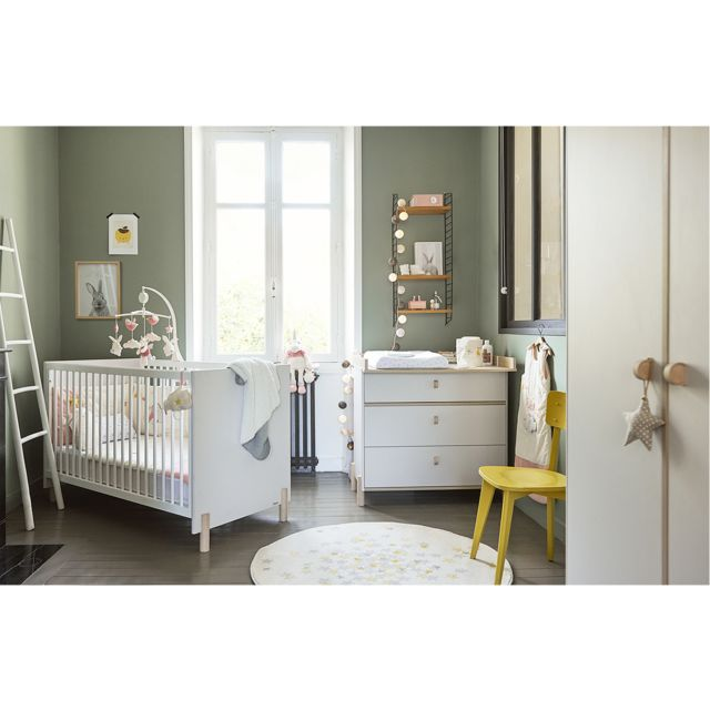 Galipette Chambre complète lit évolutif 70x140 - commode à langer - armoire 2 portes Eliott - Gris bois