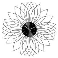 """Pendule Murale Métal """"Fleur"""" 50cm Noir"""