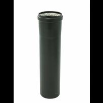 Ten - Conduit pellet émail noir - diamètre 100 mm - coulissant 50 cm