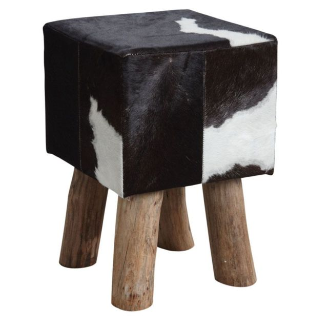 AUBRY GASPARD Tabouret carré en peau de vache