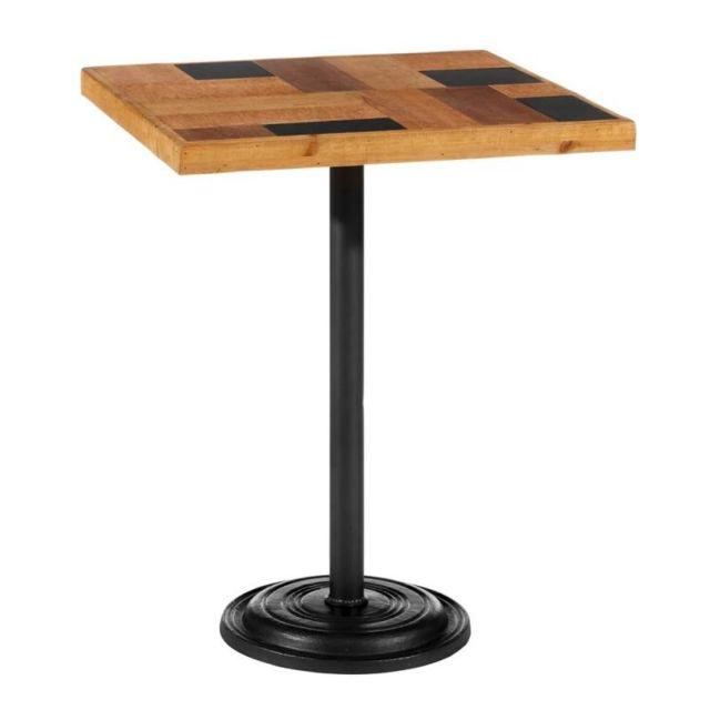 Tousmesmeubles Table de repas carrée Métal/Bois - Brutus
