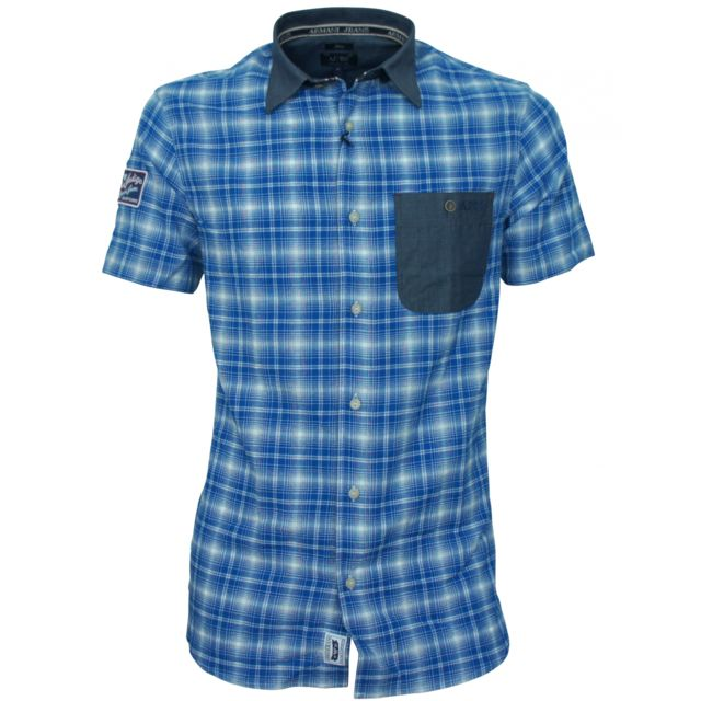 Armani - Jeans - Chemise jeans bleu A6C62VH - pas cher Achat   Vente  Chemise homme - RueDuCommerce fc26cc11a077