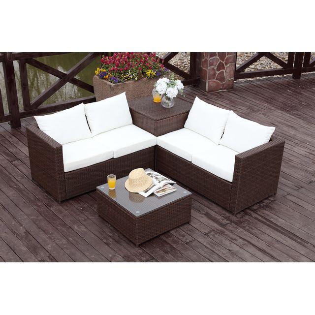 CONCEPT USINE - Silang marron/blanc : salon de jardin en résine ...